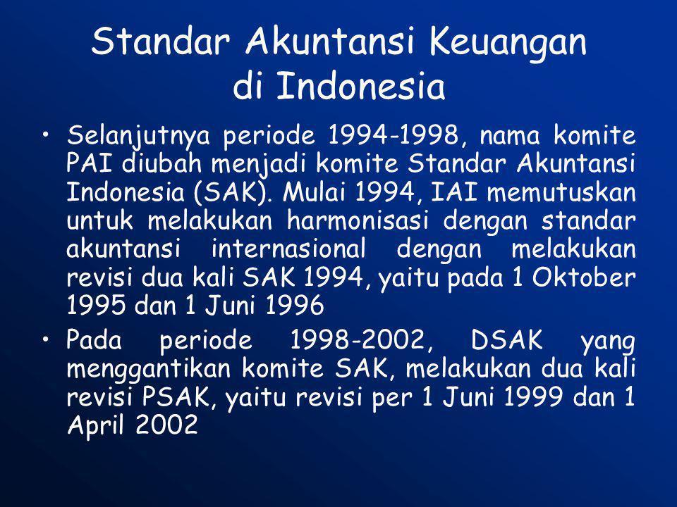 Standar Akuntansi Keuangan di Indonesia •Selanjutnya periode 1994-1998, nama komite PAI diubah menjadi komite Standar Akuntansi Indonesia (SAK). Mulai