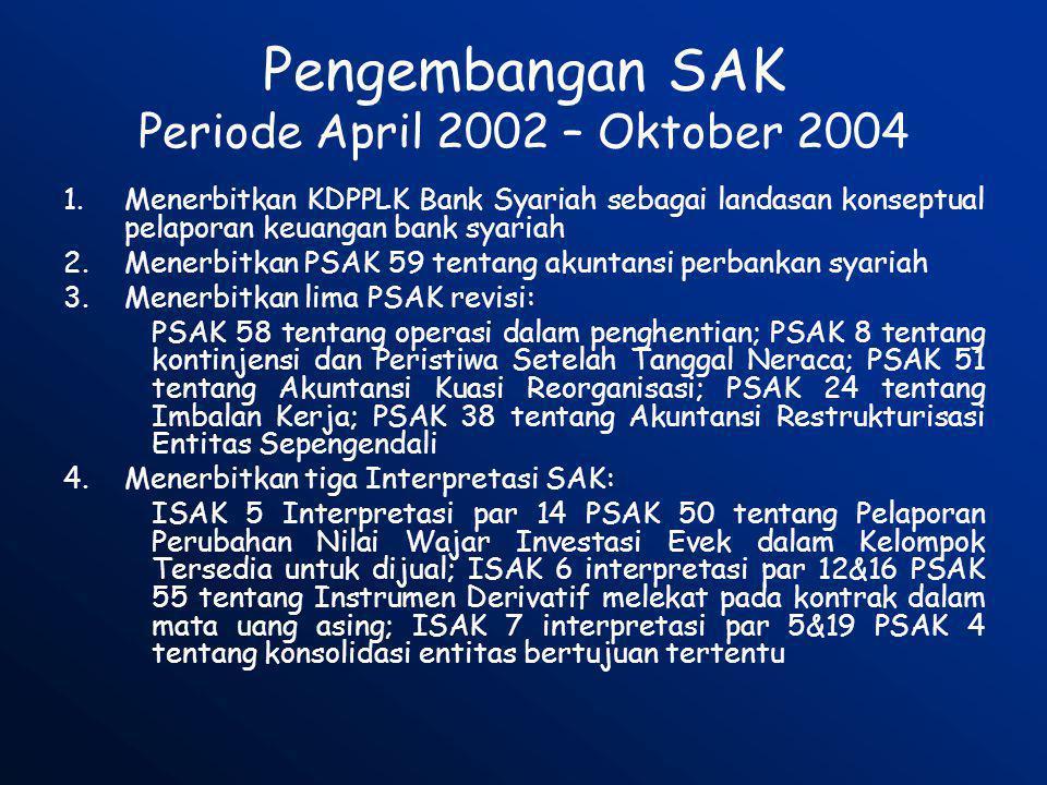 Pengembangan SAK Periode April 2002 – Oktober 2004 1.Menerbitkan KDPPLK Bank Syariah sebagai landasan konseptual pelaporan keuangan bank syariah 2.Men