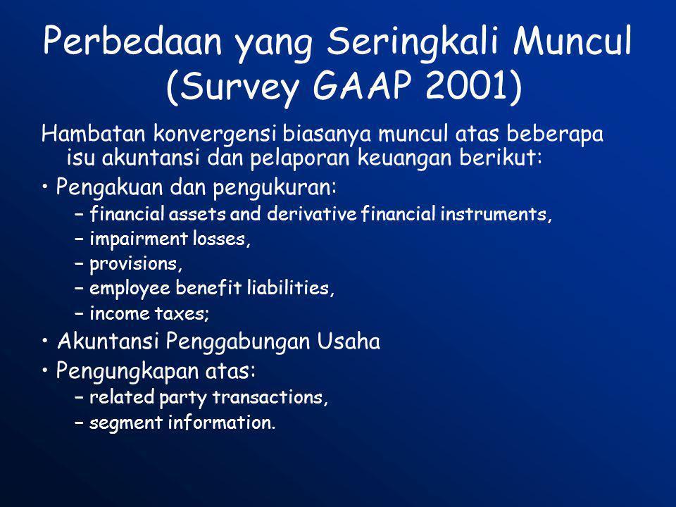 Perbedaan yang Seringkali Muncul (Survey GAAP 2001) Hambatan konvergensi biasanya muncul atas beberapa isu akuntansi dan pelaporan keuangan berikut: •