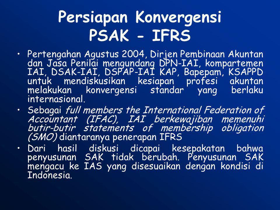 Perbandingan IFRS dan PSAK (1) •S/d status 2006, terdiri 37 standar dan 20 interpretasi: –7 new standards IFRS –30 standar IAS –9 new Interpretation (IFRIC) –11 Interpretasi (SIC) •Dimulai sejak 1974 (IAS) •Lebih merupakan standar umum, hanya ada 4 standar khusus industri •S/d status 2006, PSAK s/d 2006, terdiri dari 59 standar dan 6 interpretasi, umumnya diadopsi dari IAS, namun beberapa menggunakan referensi SFAS.