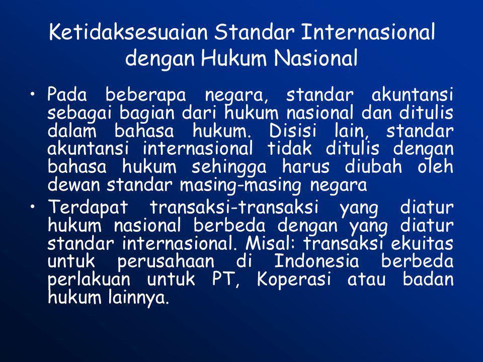 Ketidaksesuaian Standar Internasional dengan Hukum Nasional •Pada beberapa negara, standar akuntansi sebagai bagian dari hukum nasional dan ditulis da