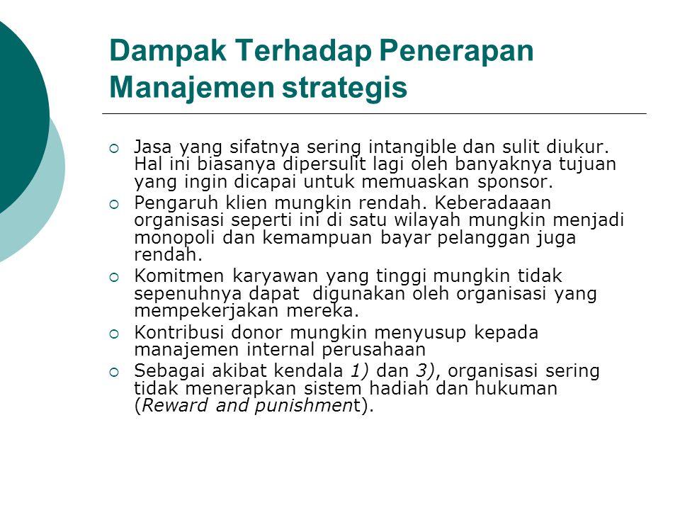 Dampak Terhadap Penerapan Manajemen strategis  Jasa yang sifatnya sering intangible dan sulit diukur. Hal ini biasanya dipersulit lagi oleh banyaknya