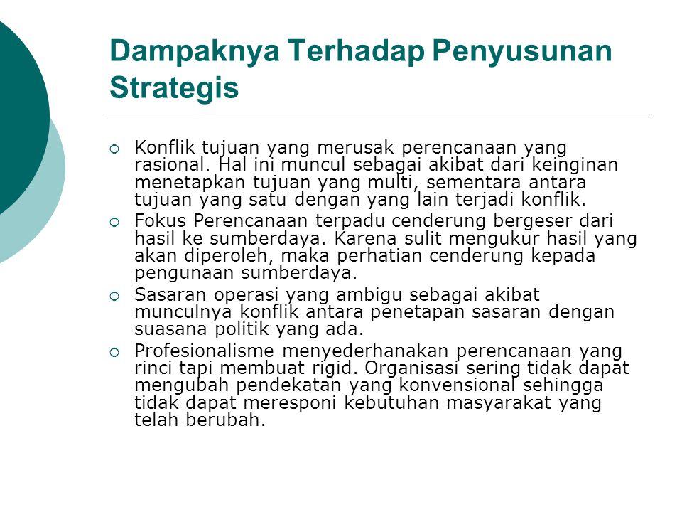 Dampaknya Terhadap Penyusunan Strategis  Konflik tujuan yang merusak perencanaan yang rasional. Hal ini muncul sebagai akibat dari keinginan menetapk