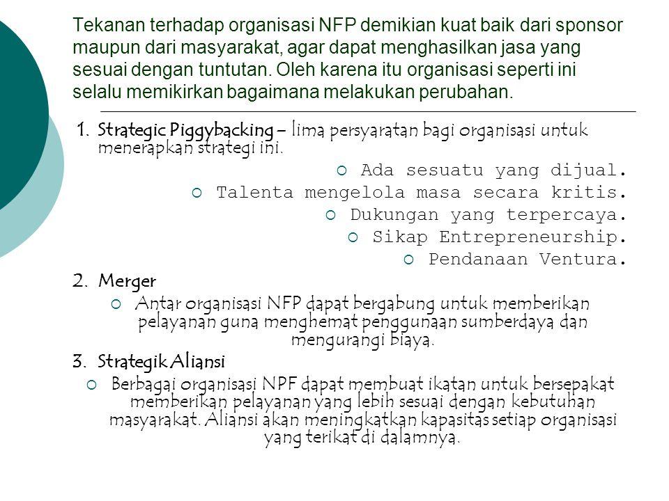 Tekanan terhadap organisasi NFP demikian kuat baik dari sponsor maupun dari masyarakat, agar dapat menghasilkan jasa yang sesuai dengan tuntutan. Oleh