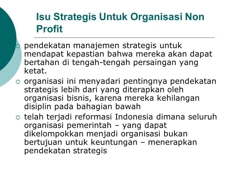 Isu Strategis Untuk Organisasi Non Profit  pendekatan manajemen strategis untuk mendapat kepastian bahwa mereka akan dapat bertahan di tengah-tengah