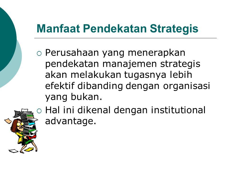 Manfaat Pendekatan Strategis  Perusahaan yang menerapkan pendekatan manajemen strategis akan melakukan tugasnya lebih efektif dibanding dengan organi