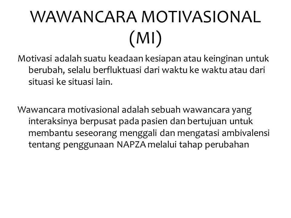 WAWANCARA MOTIVASIONAL (MI) Motivasi adalah suatu keadaan kesiapan atau keinginan untuk berubah, selalu berfluktuasi dari waktu ke waktu atau dari sit