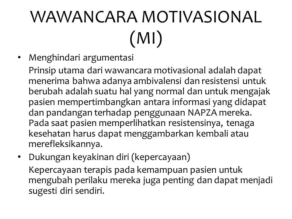 WAWANCARA MOTIVASIONAL (MI) • Menghindari argumentasi Prinsip utama dari wawancara motivasional adalah dapat menerima bahwa adanya ambivalensi dan res