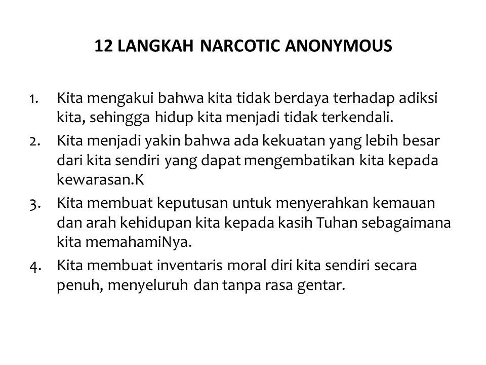 12 LANGKAH NARCOTIC ANONYMOUS 1.Kita mengakui bahwa kita tidak berdaya terhadap adiksi kita, sehingga hidup kita menjadi tidak terkendali. 2.Kita menj