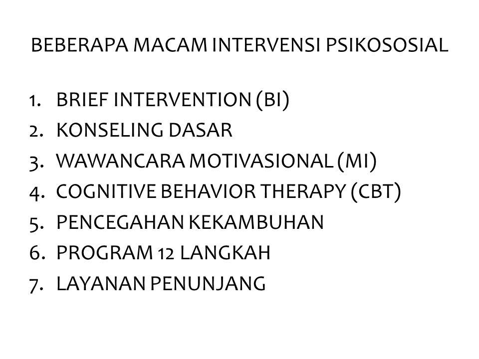 BEBERAPA MACAM INTERVENSI PSIKOSOSIAL 1.BRIEF INTERVENTION (BI) 2.KONSELING DASAR 3.WAWANCARA MOTIVASIONAL (MI) 4.COGNITIVE BEHAVIOR THERAPY (CBT) 5.P