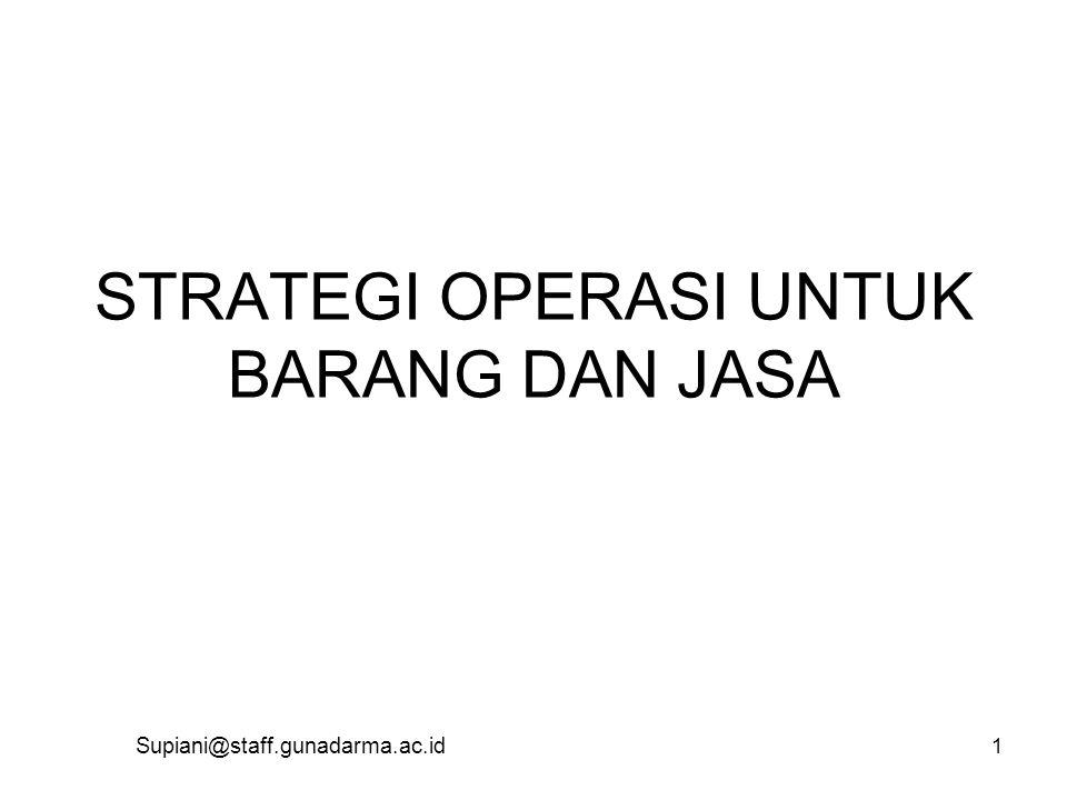 STRATEGI OPERASI UNTUK BARANG DAN JASA Supiani@staff.gunadarma.ac.id 1