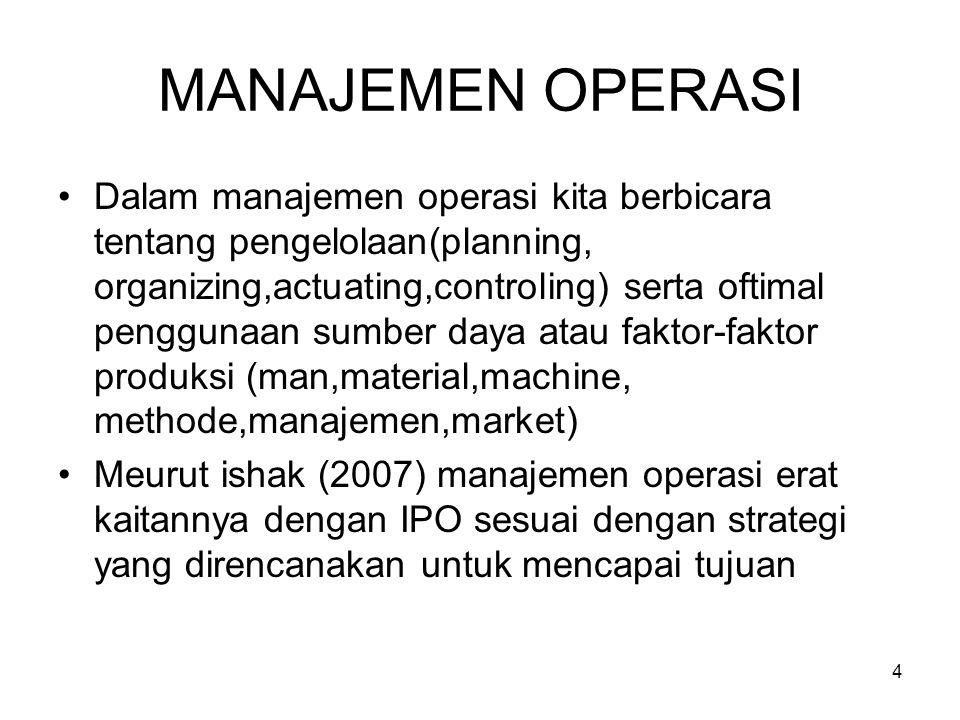 MANAJEMEN OPERASI •Dalam manajemen operasi kita berbicara tentang pengelolaan(planning, organizing,actuating,controling) serta oftimal penggunaan sumb