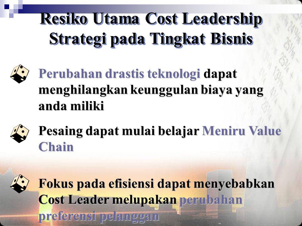 Resiko Utama Cost Leadership Strategi pada Tingkat Bisnis Resiko Utama Cost Leadership Strategi pada Tingkat Bisnis Perubahan drastis teknologi dapat