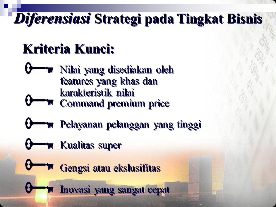 Kriteria Kunci: Diferensiasi Strategi pada Tingkat Bisnis Nilai yang disediakan oleh features yang khas dan karakteristik nilai Command premium price