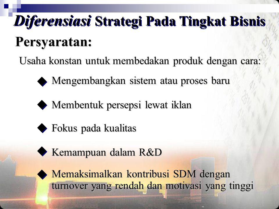 Diferensiasi Strategi Pada Tingkat Bisnis Persyaratan: Usaha konstan untuk membedakan produk dengan cara: Mengembangkan sistem atau proses baru Fokus