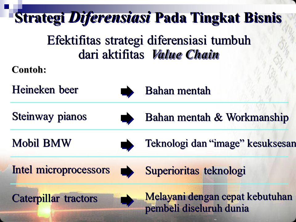 Value Chain Efektifitas strategi diferensiasi tumbuh dari aktifitas Value Chain Contoh: Heineken beer Bahan mentah Caterpillar tractors Melayani denga