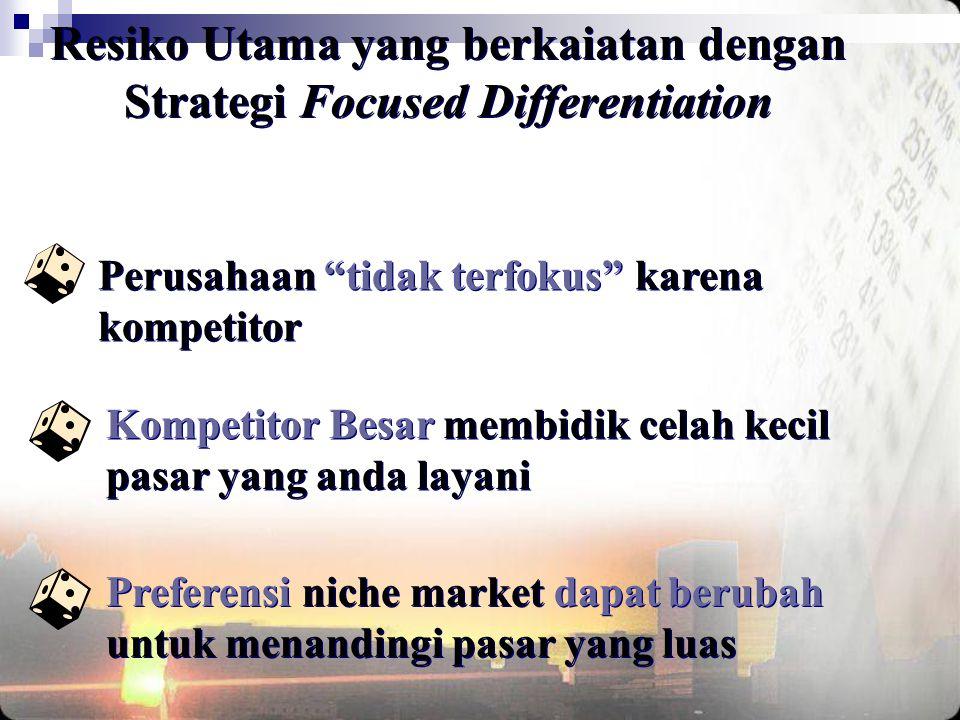 """Perusahaan """"tidak terfokus"""" karena kompetitor Kompetitor Besar membidik celah kecil pasar yang anda layani Preferensi niche market dapat berubah untuk"""