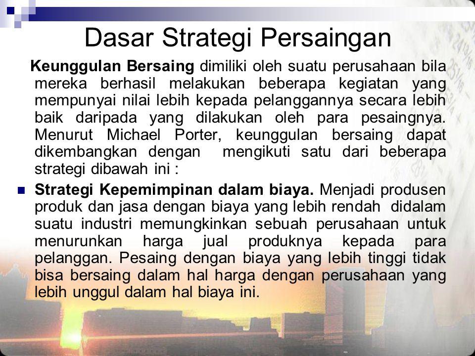 Dasar Strategi Persaingan Keunggulan Bersaing dimiliki oleh suatu perusahaan bila mereka berhasil melakukan beberapa kegiatan yang mempunyai nilai leb