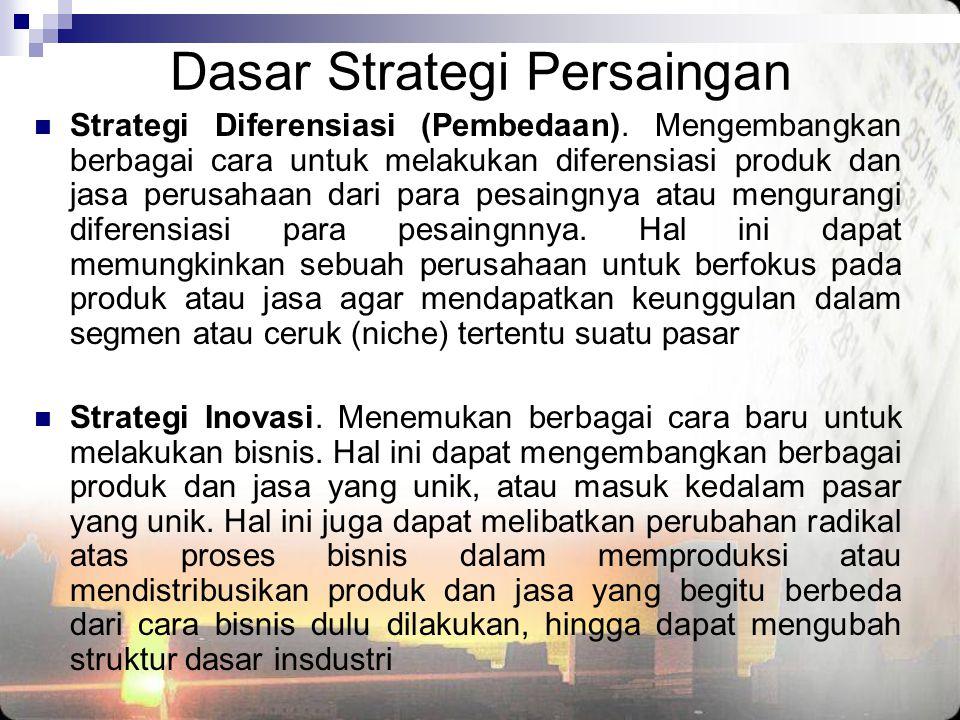Dasar Strategi Persaingan  Strategi Diferensiasi (Pembedaan). Mengembangkan berbagai cara untuk melakukan diferensiasi produk dan jasa perusahaan dar