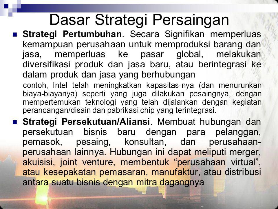 Dasar Strategi Persaingan  Strategi Pertumbuhan. Secara Signifikan memperluas kemampuan perusahaan untuk memproduksi barang dan jasa, memperluas ke p