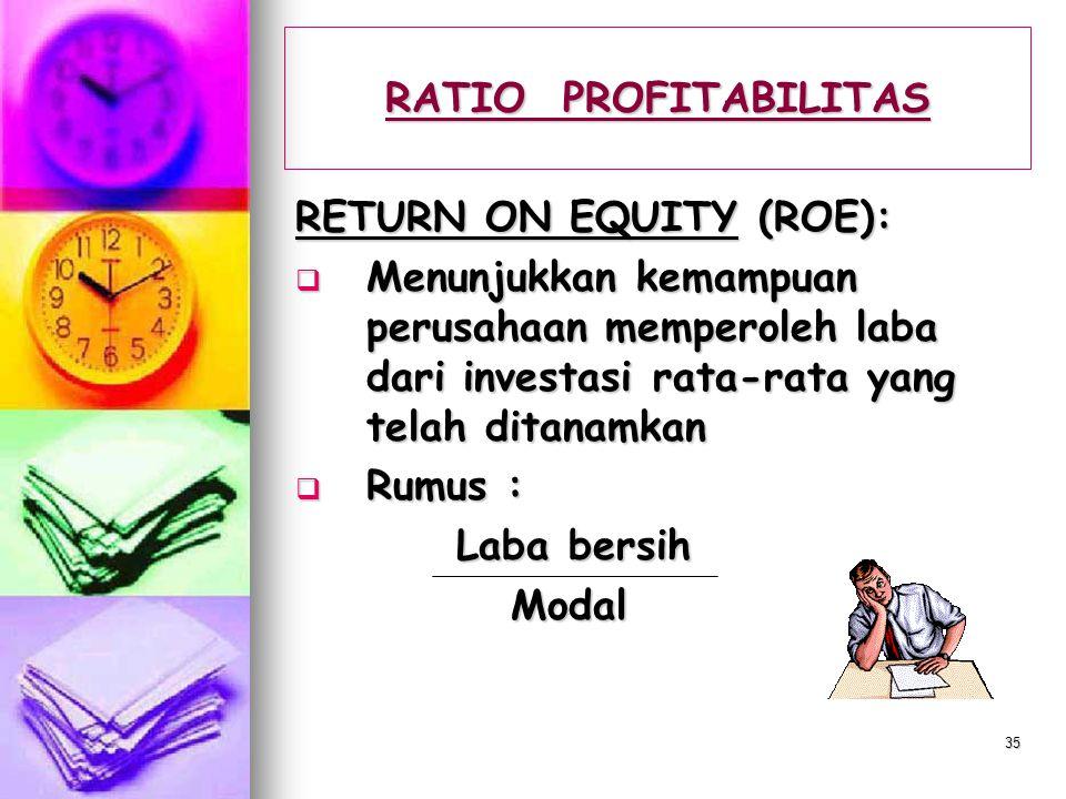34 RATIO PROFITABILITAS NET PROFIT MARGIN :  Menunjukkan kemampuan memperoleh penghasilan untuk pemilik dari setiap rupiah penjualan setelah dikurang