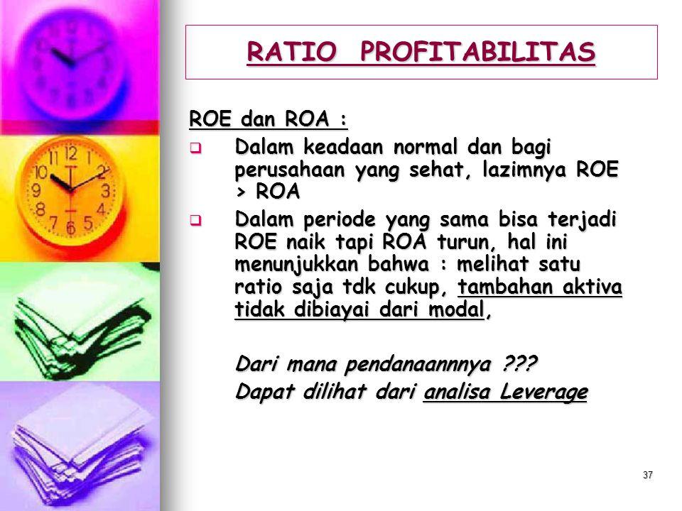 36 RATIO PROFITABILITAS RETUR ON ASSETS (ROA):  Menunjukkan tingkat efisiensi penggunaan aktiva perusahaan  Rumus : Laba bersih Laba bersih Total As