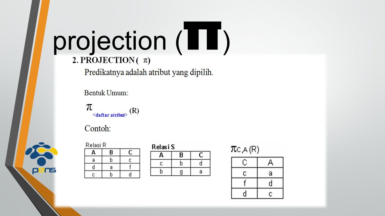 projection ( π )