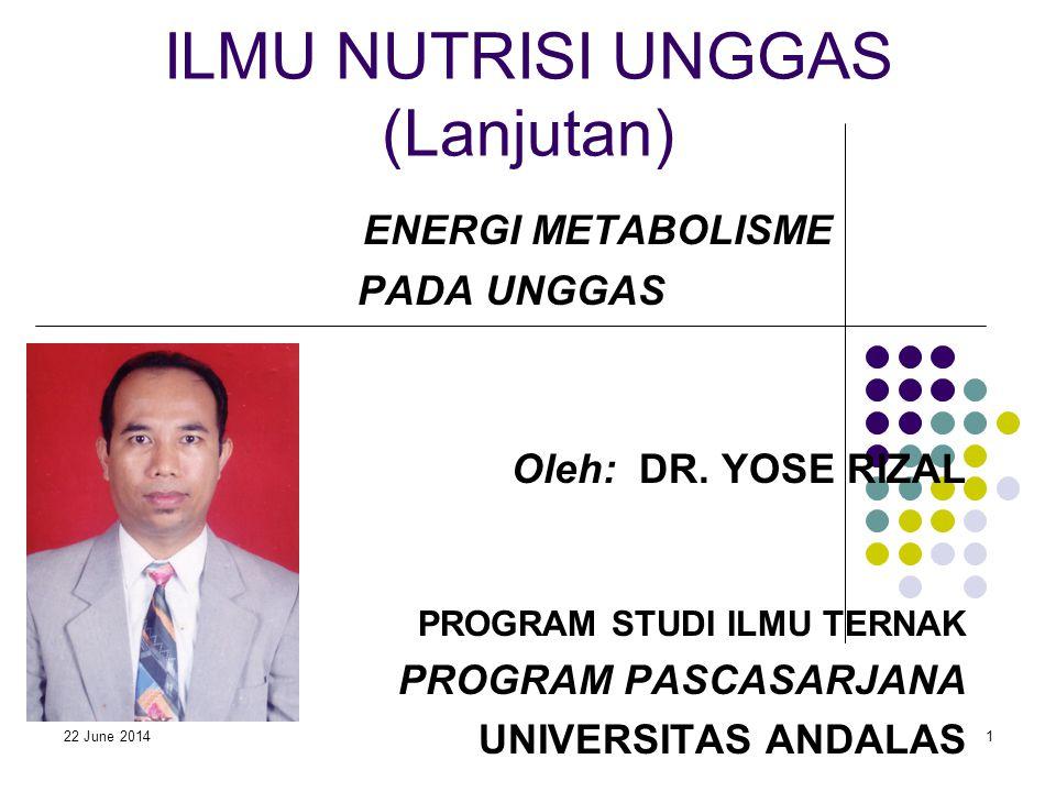 22 June 20141 ILMU NUTRISI UNGGAS (Lanjutan) ENERGI METABOLISME PADA UNGGAS Oleh: DR. YOSE RIZAL PROGRAM STUDI ILMU TERNAK PROGRAM PASCASARJANA UNIVER