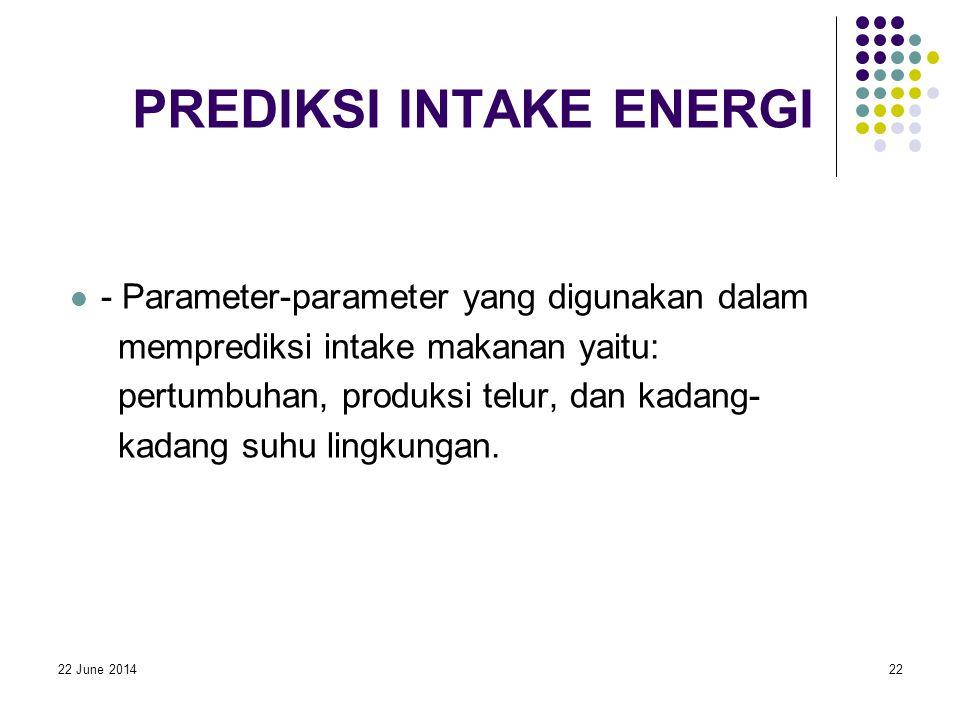 22 June 201422 PREDIKSI INTAKE ENERGI  - Parameter-parameter yang digunakan dalam memprediksi intake makanan yaitu: pertumbuhan, produksi telur, dan kadang- kadang suhu lingkungan.