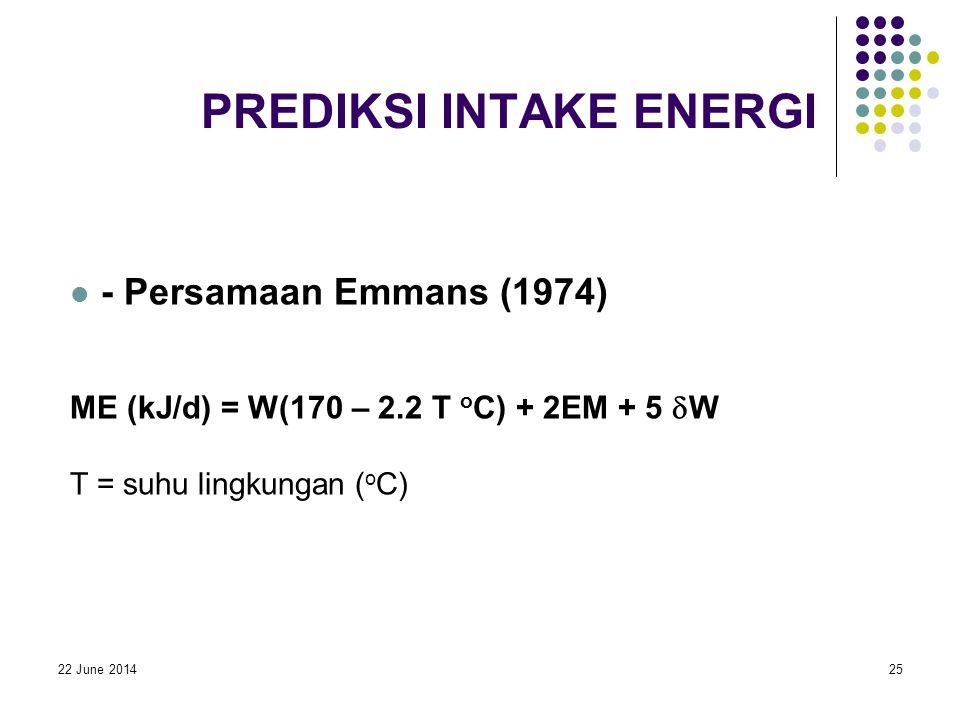 22 June 201425 PREDIKSI INTAKE ENERGI  - Persamaan Emmans (1974) ME (kJ/d) = W(170 – 2.2 T o C) + 2EM + 5  W T = suhu lingkungan ( o C)