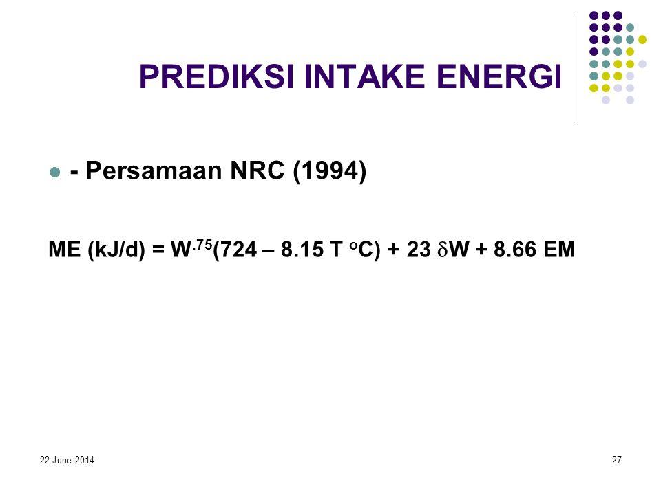 22 June 201427 PREDIKSI INTAKE ENERGI  - Persamaan NRC (1994) ME (kJ/d) = W.75 (724 – 8.15 T o C) + 23  W + 8.66 EM
