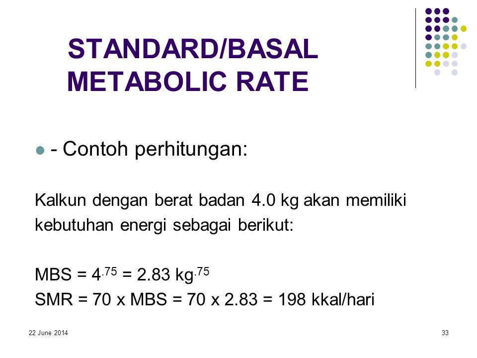 22 June 201433 STANDARD/BASAL METABOLIC RATE  - Contoh perhitungan: Kalkun dengan berat badan 4.0 kg akan memiliki kebutuhan energi sebagai berikut: MBS = 4.75 = 2.83 kg.75 SMR = 70 x MBS = 70 x 2.83 = 198 kkal/hari