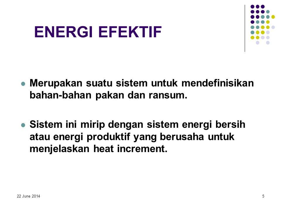 22 June 20145 ENERGI EFEKTIF  Merupakan suatu sistem untuk mendefinisikan bahan-bahan pakan dan ransum.  Sistem ini mirip dengan sistem energi bersi