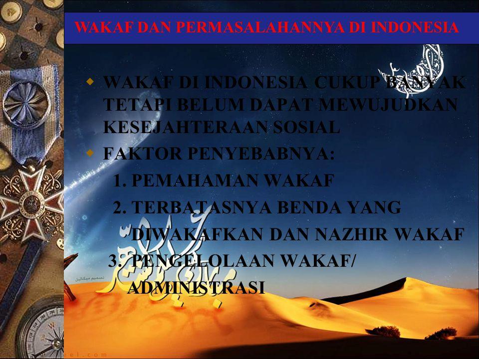  WAKAF DI INDONESIA CUKUP BANYAK TETAPI BELUM DAPAT MEWUJUDKAN KESEJAHTERAAN SOSIAL  FAKTOR PENYEBABNYA: 1. PEMAHAMAN WAKAF 2. TERBATASNYA BENDA YAN