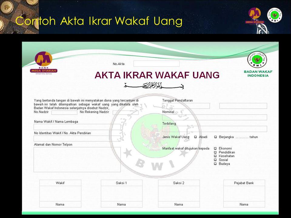 Contoh Akta Ikrar Wakaf Uang