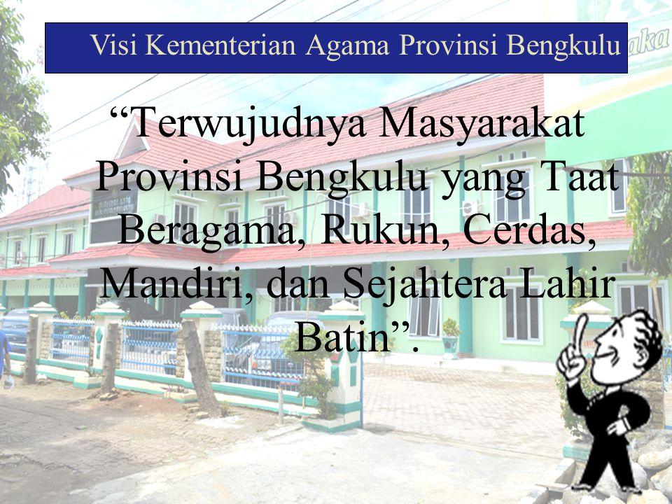 """""""Terwujudnya Masyarakat Provinsi Bengkulu yang Taat Beragama, Rukun, Cerdas, Mandiri, dan Sejahtera Lahir Batin"""". Visi Kementerian Agama Provinsi Beng"""