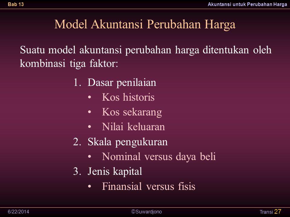  Suwardjono Bab 13Akuntansi untuk Perubahan Harga 6/22/2014 Transi 27 Model Akuntansi Perubahan Harga Suatu model akuntansi perubahan harga ditentukan oleh kombinasi tiga faktor: 1.Dasar penilaian •Kos historis •Kos sekarang •Nilai keluaran 2.Skala pengukuran •Nominal versus daya beli 3.Jenis kapital •Finansial versus fisis