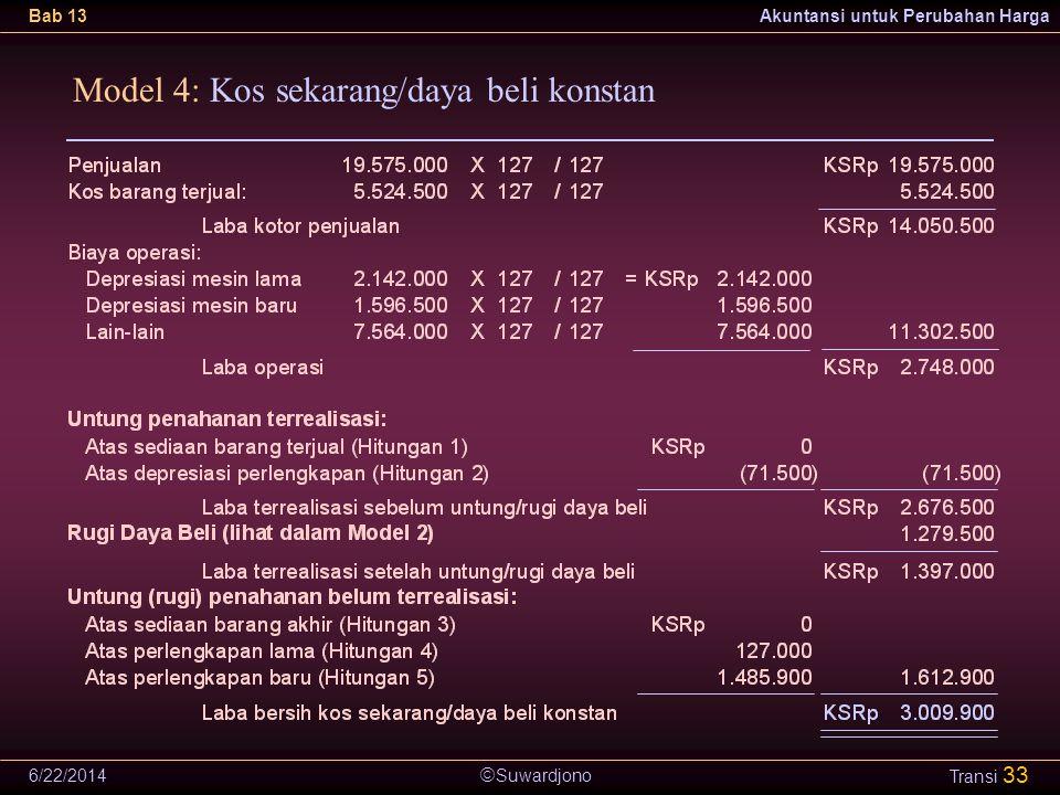  Suwardjono Bab 13Akuntansi untuk Perubahan Harga 6/22/2014 Transi 33 Model 4: Kos sekarang/daya beli konstan