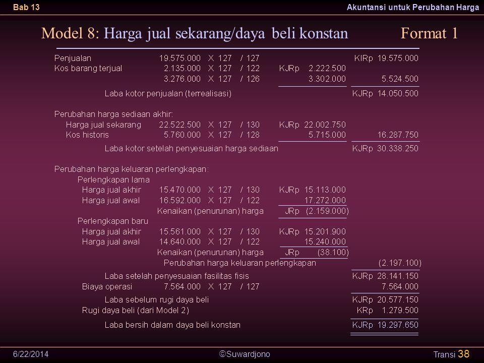  Suwardjono Bab 13Akuntansi untuk Perubahan Harga 6/22/2014 Transi 38 Model 8: Harga jual sekarang/daya beli konstanFormat 1