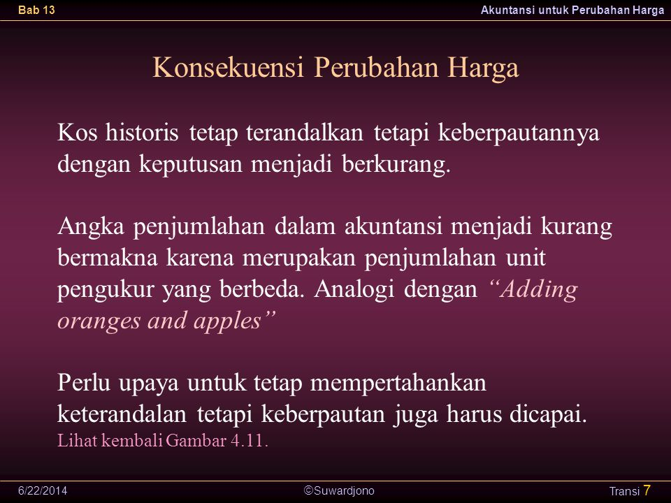  Suwardjono Bab 13Akuntansi untuk Perubahan Harga 6/22/2014 Transi 7 Konsekuensi Perubahan Harga Kos historis tetap terandalkan tetapi keberpautannya dengan keputusan menjadi berkurang.