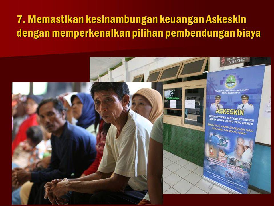 7. Memastikan kesinambungan keuangan Askeskin dengan memperkenalkan pilihan pembendungan biaya