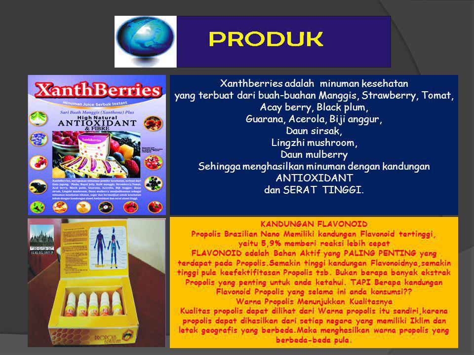 Xanthberries adalah minuman kesehatan yang terbuat dari buah-buahan Manggis, Strawberry, Tomat, Acay berry, Black plum, Guarana, Acerola, Biji anggur,
