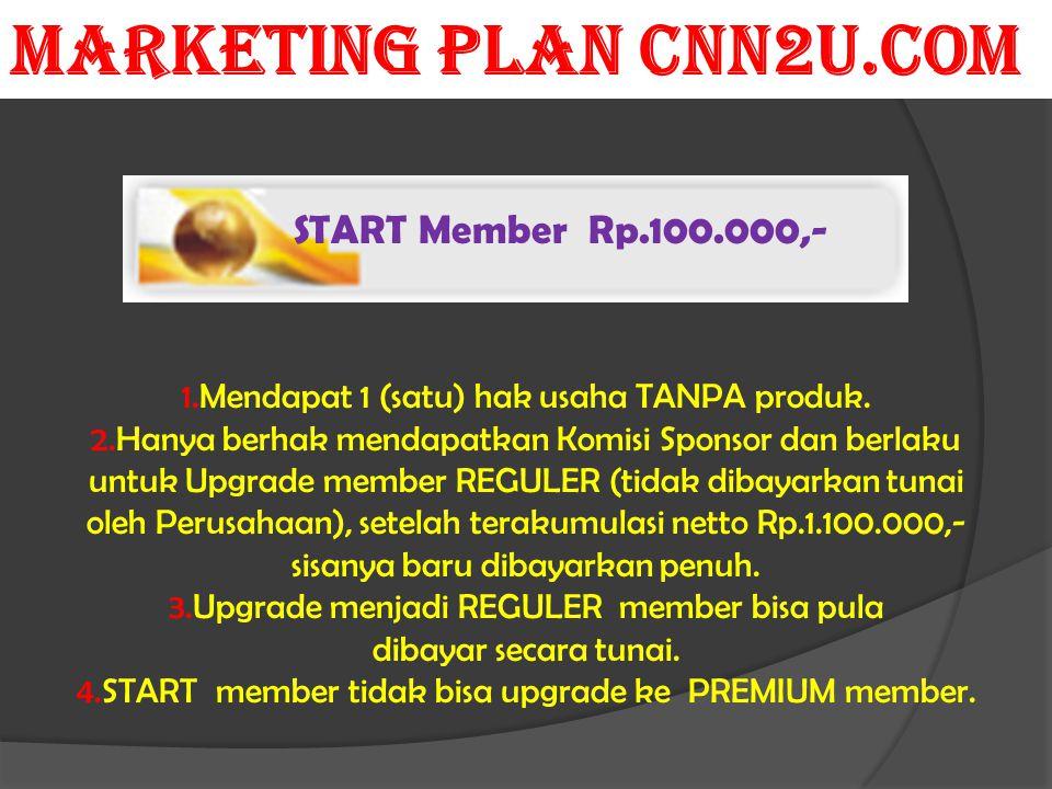 START Member Rp.100.000,- 1.Mendapat 1 (satu) hak usaha TANPA produk. 2.Hanya berhak mendapatkan Komisi Sponsor dan berlaku untuk Upgrade member REGUL
