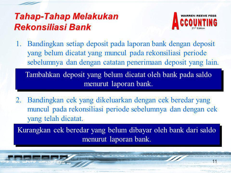 11 1.Bandingkan setiap deposit pada laporan bank dengan deposit yang belum dicatat yang muncul pada rekonsiliasi periode sebelumnya dan dengan catatan penerimaan deposit yang lain.