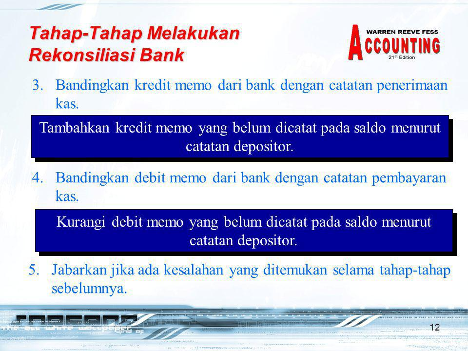 12 3.Bandingkan kredit memo dari bank dengan catatan penerimaan kas. Tambahkan kredit memo yang belum dicatat pada saldo menurut catatan depositor. Ta