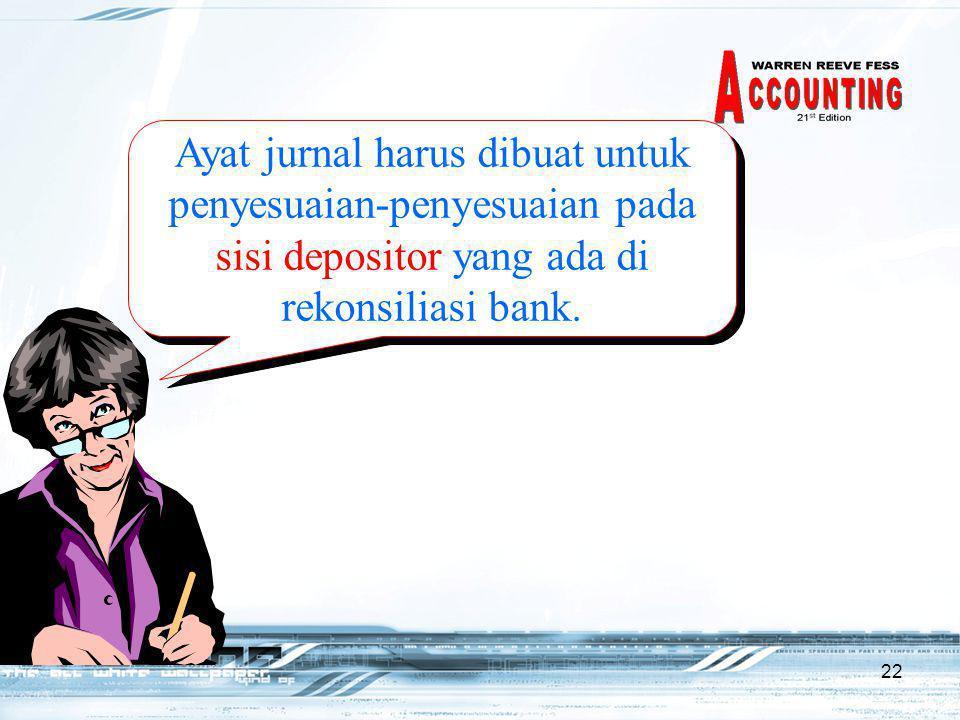 22 Ayat jurnal harus dibuat untuk penyesuaian-penyesuaian pada sisi depositor yang ada di rekonsiliasi bank.