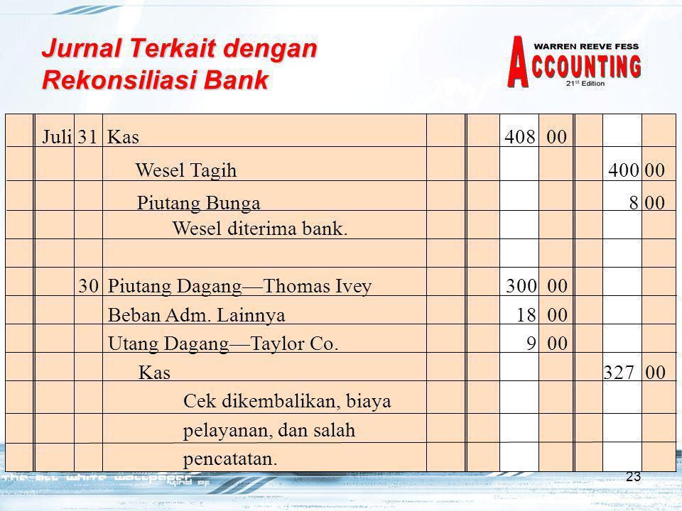 23 Juli 31Kas 408 00 Wesel diterima bank.