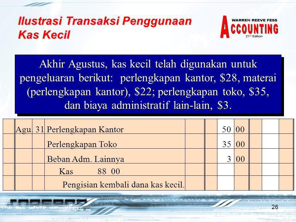 26 Agu. 31 Perlengkapan Kantor 50 00 Pengisian kembali dana kas kecil. Kas 88 00 Akhir Agustus, kas kecil telah digunakan untuk pengeluaran berikut: p