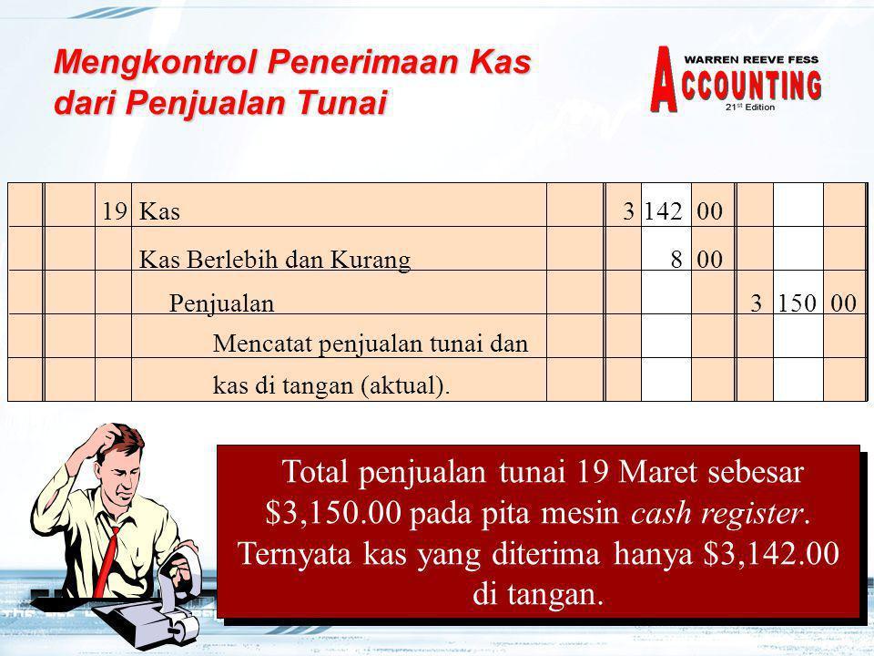 5 19Kas3 142 00 Kas Berlebih dan Kurang8 00 Mencatat penjualan tunai dan kas di tangan (aktual).