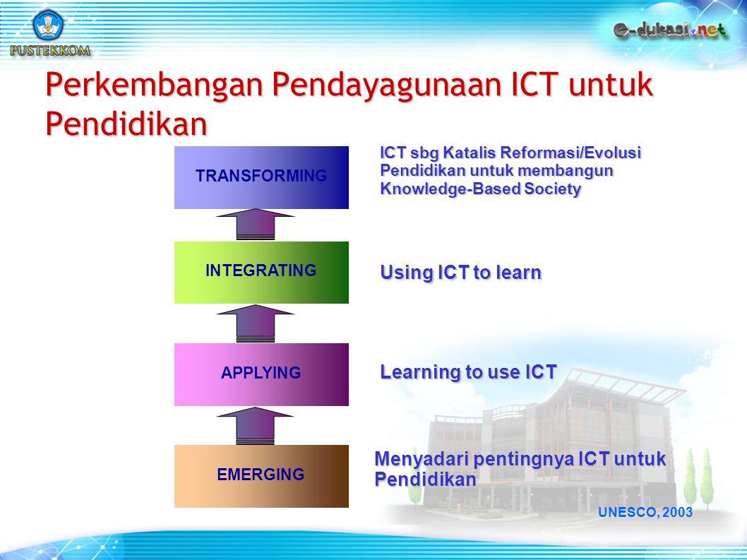 TRANSFORMING INTEGRATING APPLYING EMERGING ICT sbg Katalis Reformasi/Evolusi Pendidikan untuk membangun Knowledge-Based Society Using ICT to learn Lea